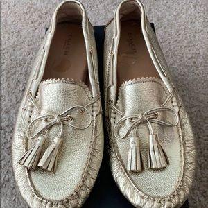 Never worn metallic Coach loafers